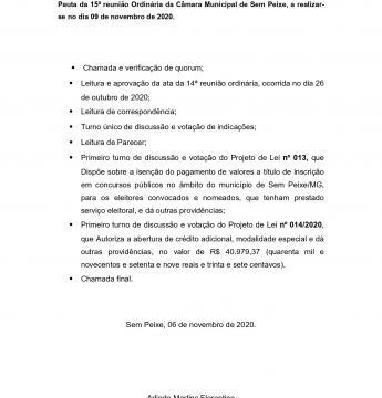 Pauta da 15ª reunião Ordinária da Câmara Municipal de Sem Peixe