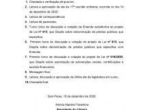 Pauta da 5ª reunião Extraordinária da Câmara Municipal de Sem Peixe