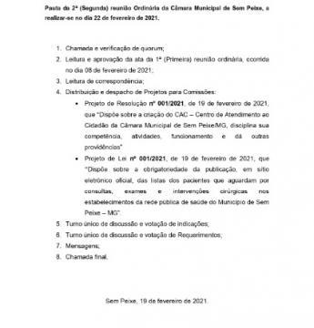 Pauta da 2ª (Segunda) reunião Ordinária da Câmara Municipal de Sem Peixe