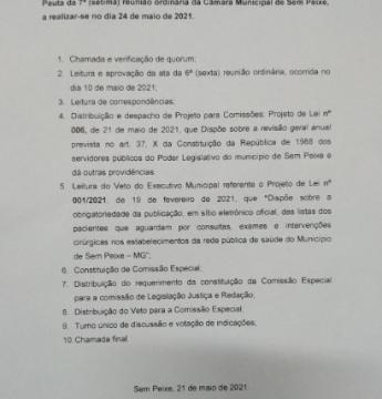 Pauta da 7ª reunião Ordinária da Câmara Municipal de Sem Peixe