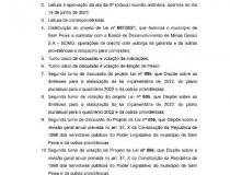 Pauta da 9ª (nona) reunião ordinária da Câmara Municipal de Sem Peixe